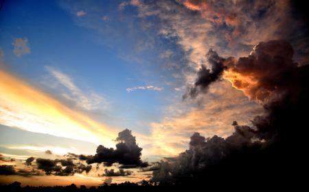 Обои природа, небо, закат, свет