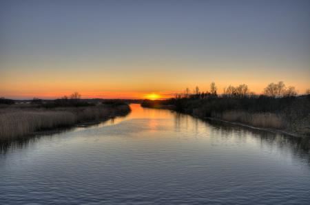 Фотографии река, закат, вечер, серый