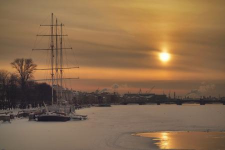 Картинки Вечер, солнце, закат, корабль