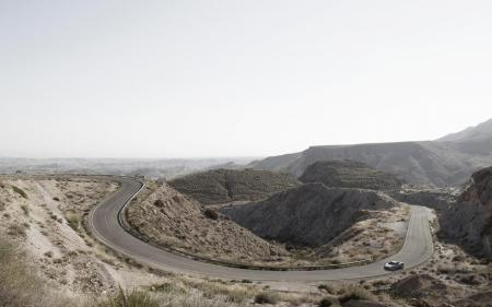 Фото пустыня, холмы, день, дорога