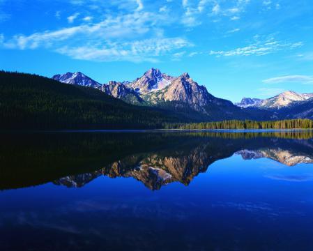 Фото горы, озеро, лес, отражение