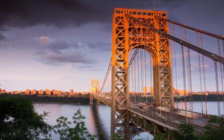 Обои мост, река, здания, дома