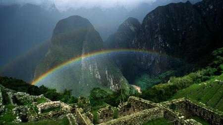 Заставки пейзаж, природа, радуга, горы
