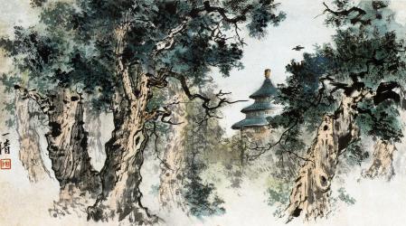 Заставки графика, гравюра востока, пейзаж