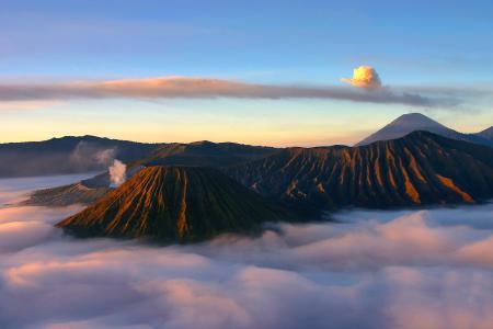 Обои утро, вулкан, Bromo, индонезия