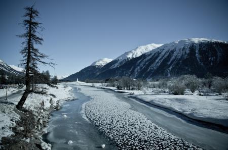 Заставки Зима, долина, река, лёд