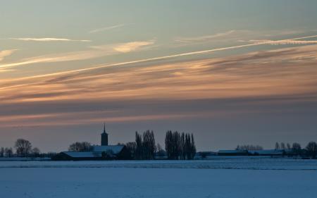 Фотографии закат, зима, поле, храм
