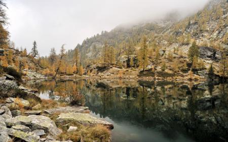 Картинки озеро, горы, туман