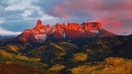 Фото горы, закат, свет, снег