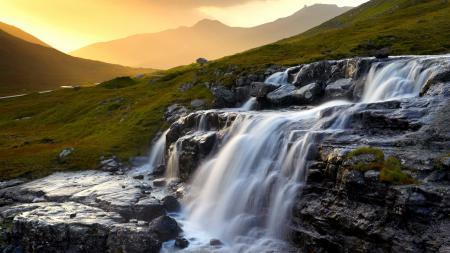 Фото водопад, закат, домик, горы