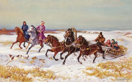 Обои Станислав Потеха, живопись, картина, зимний