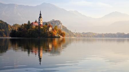 Фотографии Словения, озеро, горы, лес