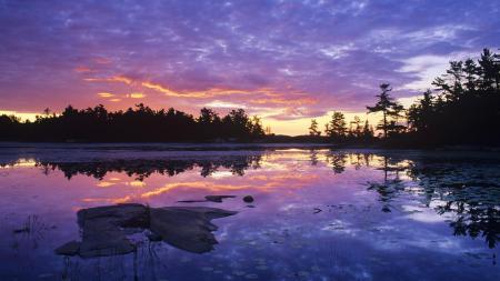 Фотографии Природа, озеро, закат, отражение