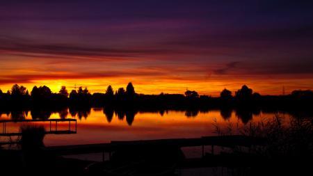 Картинки закат, небо, озеро, тени