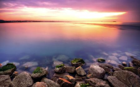 Фото море, закат, камни, природа
