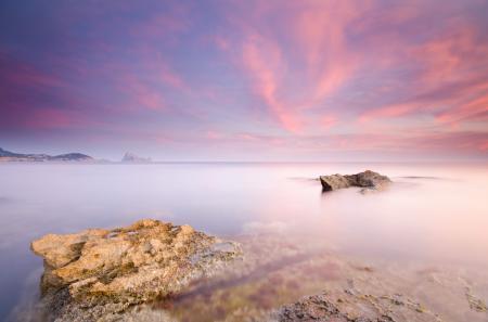 Фото розовое небо, море, гладь, выдержка