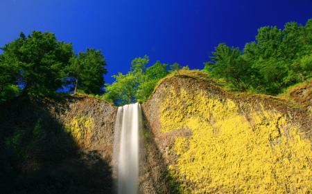 Заставки водопад, гора, небо, пейзаж