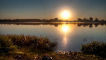 Картинки закат, река, рыбалка, пейзаж