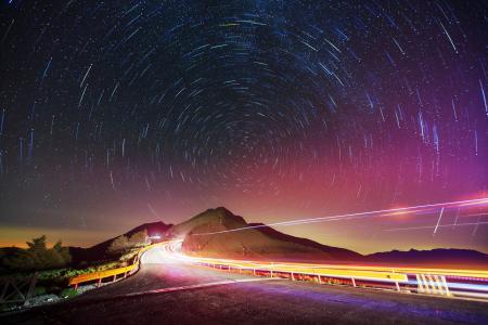 Фотографии дорога, ночь, свет, звёзды