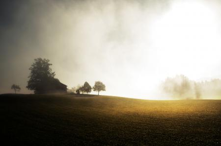 Фото дом, поле, солнечные лучи, туман