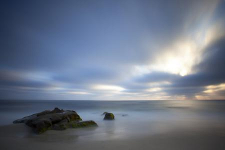 Картинки море, скала, вечер, пейзаж