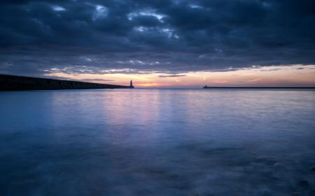 Заставки ночь, море, маяк, пейзаж