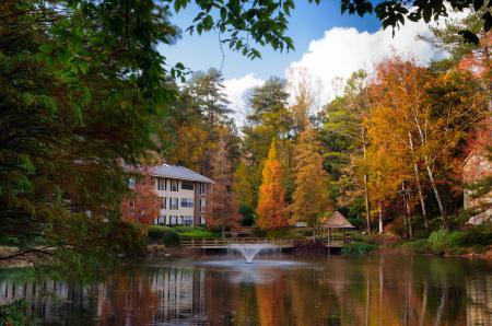 Фотографии осень, лес, озеро, фонтан