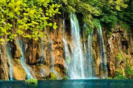 Заставки Waterfall, красивый, водопад, скала