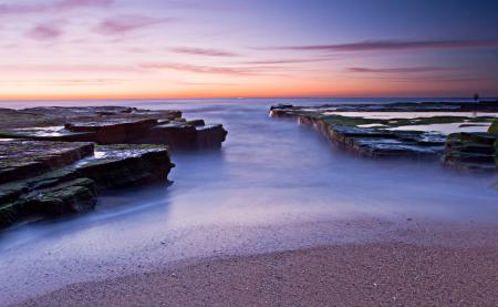Обои небо, закат, камни, море