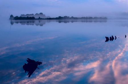 Фото природа, туман, вода, отражение
