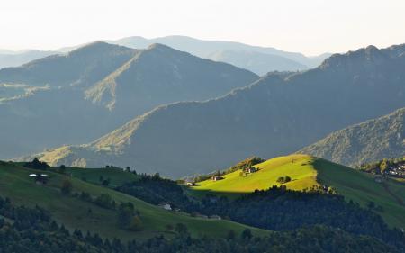 Обои горы, холмы, поля, леса