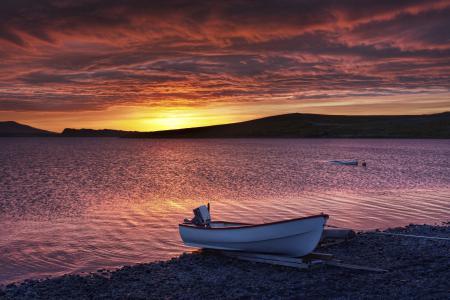 Фото лодка, берег, закат