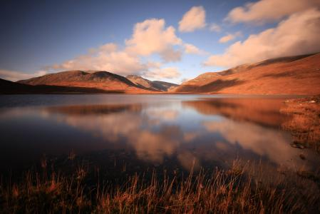 Фото горы, озеро, небо, облака