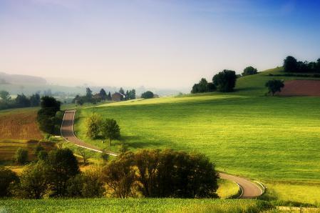 Обои дорога, поле, небо