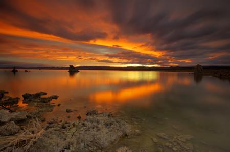 Фото озеро, небо, закат