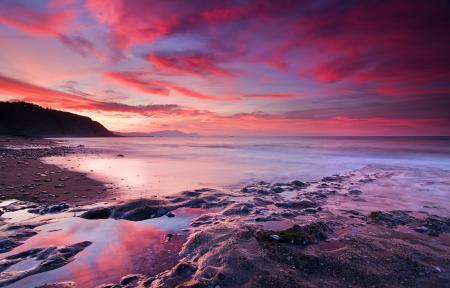 Картинки небо, закат, красный, море