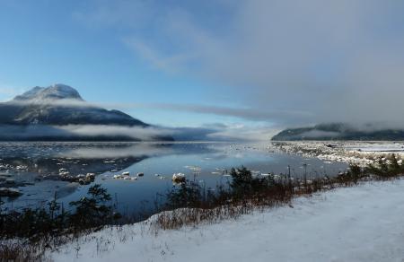 Картинки река, зима, снег, горы