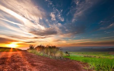 Фото поле, небо, свет, облака
