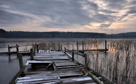 Заставки озеро, мост, вечер, закат