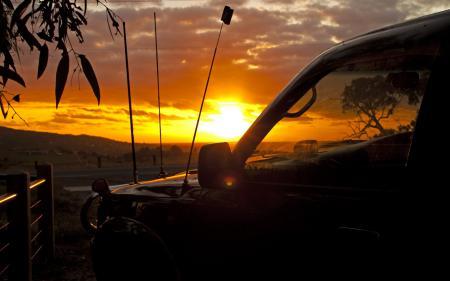 Фотографии Машина, закат, солнце, небо