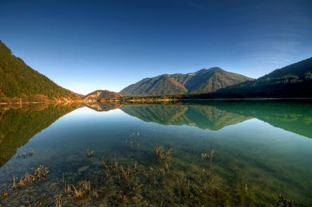 Обои горы, озеро, небо, вода