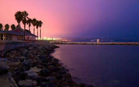 Картинки california, закат, пальмы, город