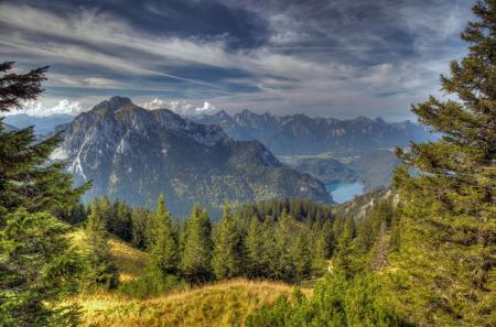 Картинки Баварские Альпы, горы, озеро, деревья