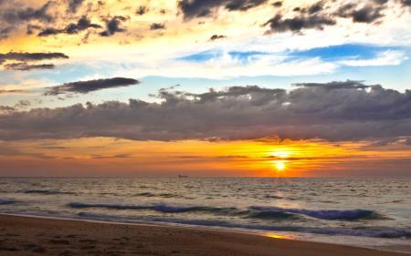Картинки закат, пляж, море, солнце