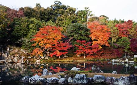 Заставки осень, Япония, деревья, озеро