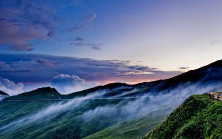 Фотографии горы, ночь, дорога, облака