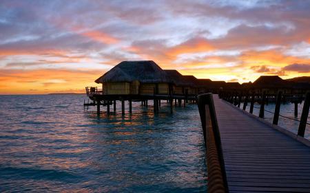 Картинки French Polynesia, Французская Полинезия, океан, восход