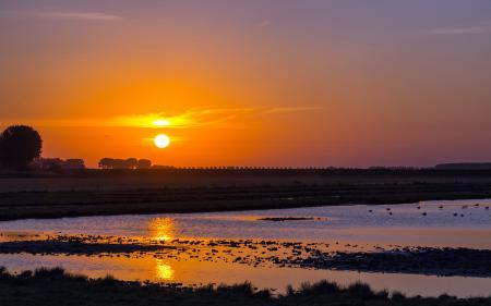 Фото закат, озеро, природа, пейзаж