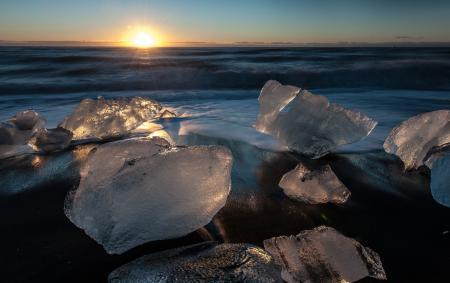 Обои берег, лёд, вода, солнце