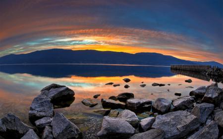 Картинки lake, sunset, water, rocks